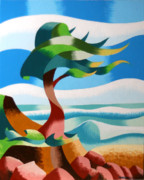 Cubism Paintings - Abstract Rough Futurist Cypress Tree by Mark Webster