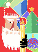 Digital Paiting  Posters - Abstract Santa Poster by Arline Wagner