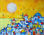 White Red And Yellow Prints - Abstract Santorini - Oia Before Sunset Print by Ana Maria Edulescu