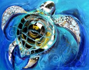 Baby Sea Turtle Framed Prints - Abstract Sea Turtle in C Minor Framed Print by J Vincent Scarpace