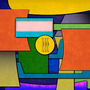 Montage Digital Art Prints - Abstract Shapes Color One Print by Gary Grayson