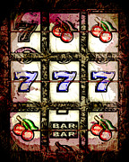 Slots Prints - Abstract Slot Machine Reels Print by David G Paul