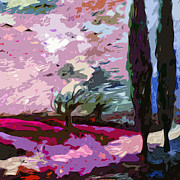 Abstract Landscape Art - Abstract Square Landscape Cypress Trees Lavender by Ginette Callaway