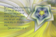 Color Yellow Posters - Abstract Star Deuteronomy 31 v 6 Poster by Linda Phelps
