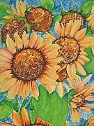 Fantasty Framed Prints - Abstract Sunflowers Framed Print by Chrisann Ellis