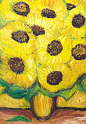 Color Symbolism Painting Prints - Abstract Sunflowers in the vase Print by Kazuya Akimoto