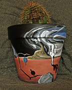 Surrealism Ceramics Metal Prints - Abstract-Surreal cactus pot A Metal Print by Ryan Demaree