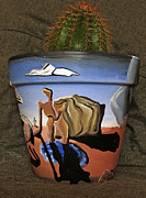 Landscape Ceramics Metal Prints - Abstract-Surreal cactus pot C Metal Print by Ryan Demaree