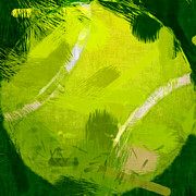Ball Digital Art Posters - Abstract Tennis Ball Poster by David G Paul