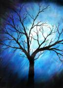 Sabrina Zbasnik - Abstract Tree on Blue