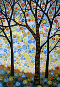 Circles Prints - Abstract Tree Painting Lights In the Sky Print by Amy Giacomelli
