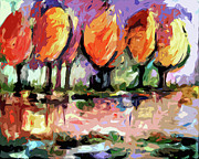 Abstract Landscape Art - Abstract Trees by the Rivers Edge Landscape by Ginette Fine Art LLC Ginette Callaway