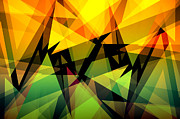Backdrop Digital Art Originals - Abstract triangle colorful background by Nattapon Wongwean