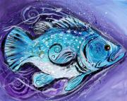 Great Paintings - Abstract Triple-Fin Fish by J Vincent Scarpace