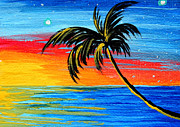 Abstract Stars Metal Prints - Abstract Tropical Palm Tree Painting TROPICAL GOODBYE by MADART Metal Print by Megan Duncanson