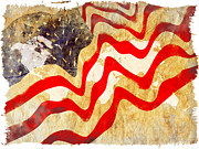 4th Of July Digital Art Prints - Abstract USA Flag Print by Stefano Senise
