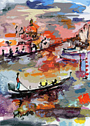 Abstract Venice Italy Gondolas Print by Ginette Fine Art LLC Ginette Callaway
