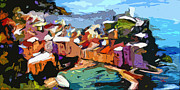 Cinque Terre Paintings - Abstract Vernazza Italy Cinque Terre by Ginette Fine Art LLC Ginette Callaway