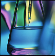 Pipette Posters - Abstract View Of Pipette In Conical Flask Poster by Tek Image