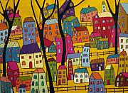Folk Art Mixed Media Posters - Abstract Village Houses and Trees  Poster by Karla Gerard