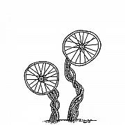 Black Pen Work Prints - Abstract Wheels Print by Karl Addison