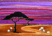 Plum Drawings Framed Prints - Abstract Whimsical Art Contemporary African Landscape SERENGETI SISTERS by ROMI Framed Print by Romi  Neilson