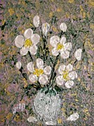 White Roses Paintings - Abstract Wild Roses heavy impasto by Georgeta  Blanaru