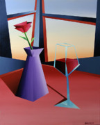 Wine Bottle Paintings - Abstract Wine at Sunset 1 by Mark Webster
