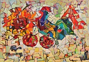 Abstract With Rooster Print by Liubov Meshulam Lemkovitch