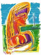 Column Mixed Media Posters - Abstract Woman Poster by Russell Pierce