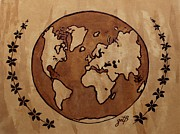 Earth Map Paintings - Abstract World Globe Map coffee painting by Georgeta  Blanaru