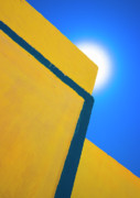 Yellow Posters - Abstract Yellow And Blue Poster by Meirion Matthias