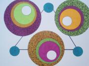 Circles Drawings Framed Prints - Abstracted Circles Framed Print by Beth Akerman