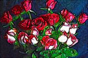 Cindy Boyd - Abstracted Red And White Rose Bouquet