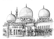 Religious Artist Drawings Framed Prints - Abu Dhabi Masjid in ink  Framed Print by Lee-Ann Adendorff