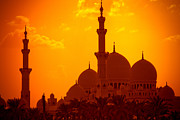 Middle Eastern Culture Framed Prints - Abu Dhabi Mosque At Sunset Framed Print by - by Kim Schandorff -