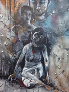 Abuse Painting Originals - Abuse against women by Neil Sen