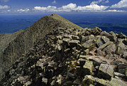 Mount Katahdin Prints - Abutting The Clouds, Hikers Rest Atop Print by Phil Schermeister