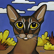 Feline Paintings - Abyssinian  by Leanne Wilkes