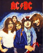 Ac Paintings - AC DC Highway to hell by Dean Manemann