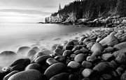 Ocean Scenes Posters - Acadia Radiance - Black and White Poster by Thomas Schoeller