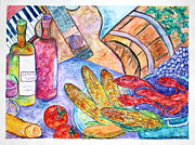 French Wine Bottles Painting Posters - Acadiana Picnic Poster by Melinda English