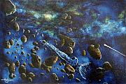 Outerspace Metal Prints - Accidental Asteroid Metal Print by Murphy Elliott