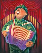 Humorous Pastels Posters - Accordian Player Poster by Valerian Ruppert