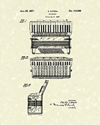 1937 Drawings Framed Prints - Accordion 1937 Patent Art Framed Print by Prior Art Design