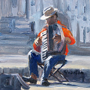 Lori Quarton Art - Accordion Man by Lori Quarton