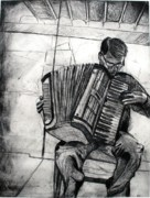 Dry Point Posters - Accordion Man Poster by Molly Markow