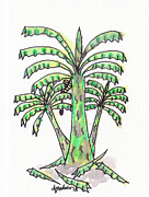 Banana Mixed Media Prints - ACEO - Banana Trees 1 Print by Daniel Goodwin