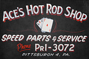 Cards Vintage Framed Prints - Aces Hot Rod Shop Framed Print by Clarence Holmes
