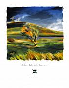 Rural Landscapes Mixed Media Prints - Achill Island Ireland Autumn Colors Print by Bob Salo